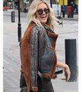 Christmas Ashley Roberts Brown Shearling Leather Jacket