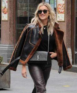 Christmas Ashley Roberts Brown Shearling Leather Jacket