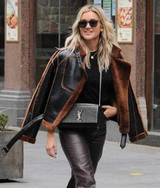 Christmas Ashley Roberts Shearling Leather Jacket