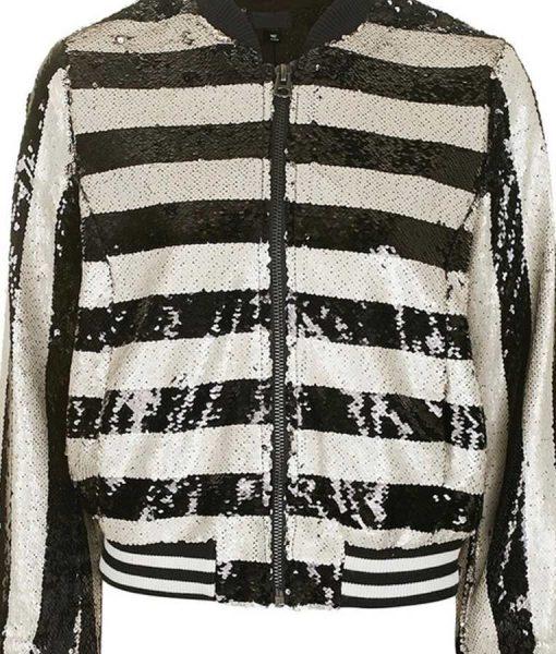 Kim Cattrall Filthy Rich Margaret Monreaux Black & White Stripe Sequin Bomber
