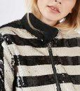 Filthy Rich Margaret Monreaux Black & White Stripe Sequin Jacket