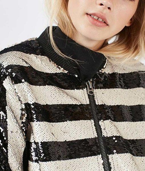 Filthy Rich Margaret Monreaux Black & White Stripe Sequin Bomber