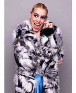 Suzie Pickles I Hate Suzie Billie Piper Black & White Fur Coat