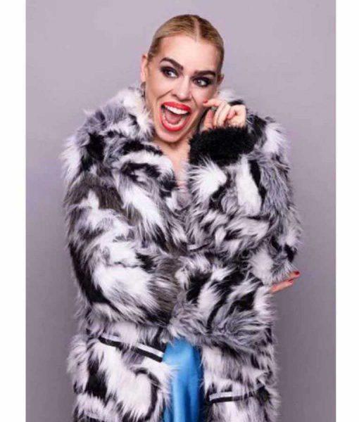 I Hate Suzie Billie Piper Black & White Fur Coat