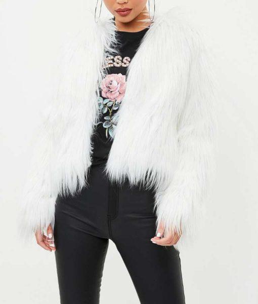 I Hate Suzie Billie Piper White Faux Fur Jacket
