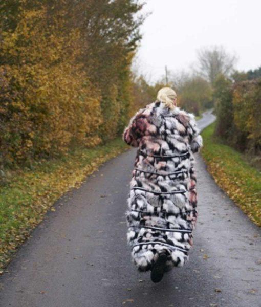 I Hate Suzie Suzie Pickles Black & White Fur Trench Coat
