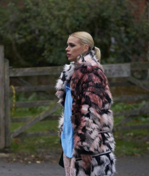 I Hate Suzie Black & White Fur Trench Coat