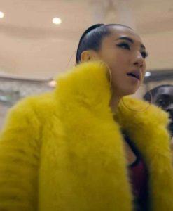 Ina Wroldsen Jax Jones Breathe Yellow Fur Coat