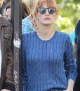 The 355 Jessica Chastain Blue Cable Knit Sweater