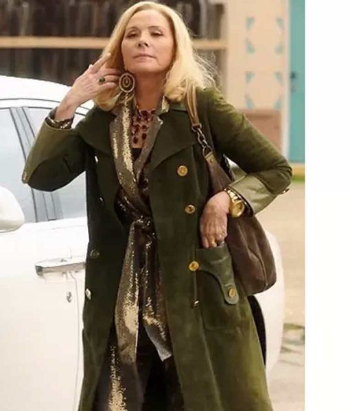 Margaret Monreaux Filthy Rich Kim Cattrall Green Suede Leather Coat