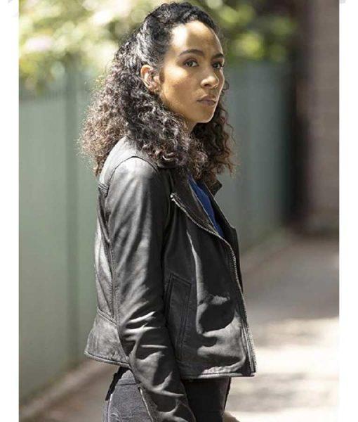Aurora Perrineau Prodigal Son Dani Powell Black Leather Jacket