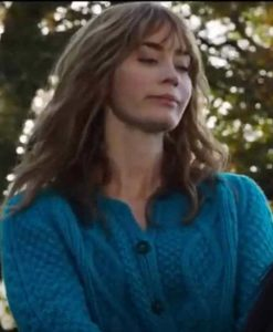 Wild Mountain Thyme Emily Blunt Blue Cable-knit Sweater