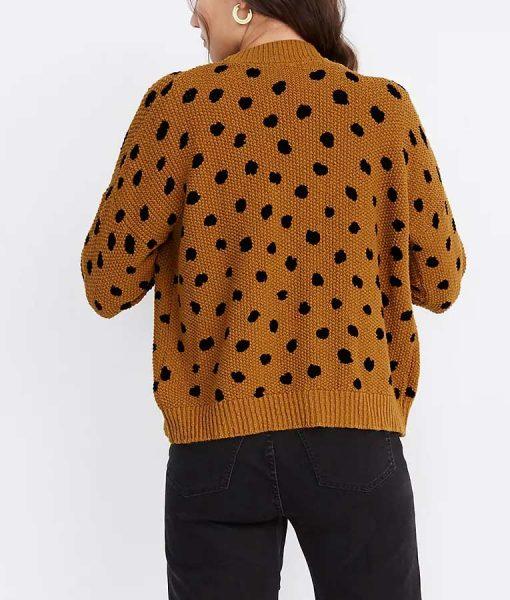 Side Hustle Lex Brown & Black Dot Cardigan Sweater