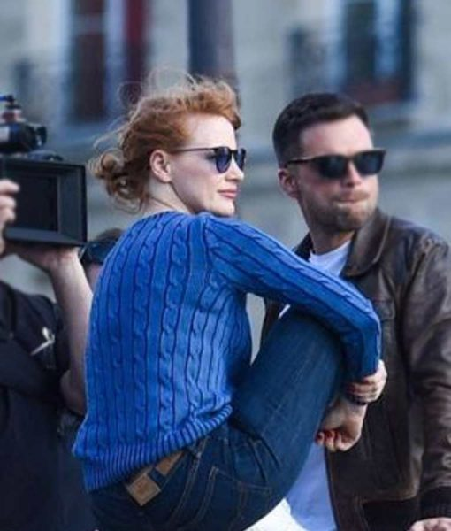 Mace The 355 Jessica Chastain Blue Cable Knit Sweater