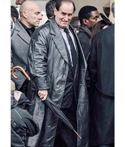 The Batman 2022 The Penguin Black Leather Trench Coat