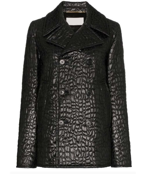 The Flight Attendant Cassie Bowden Black Leather peacoat