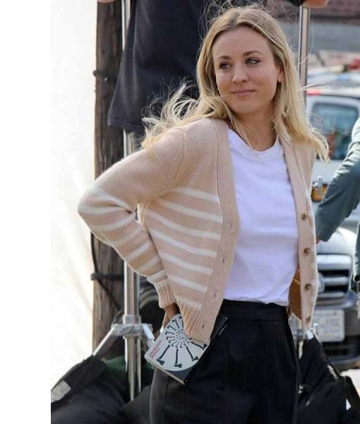Kaley CuocoThe Flight Attendant Cassie Bowden Stripe Sweater