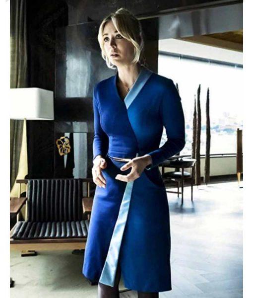The Flight Attendant Kaley Cuoco Wrap Blue Dress
