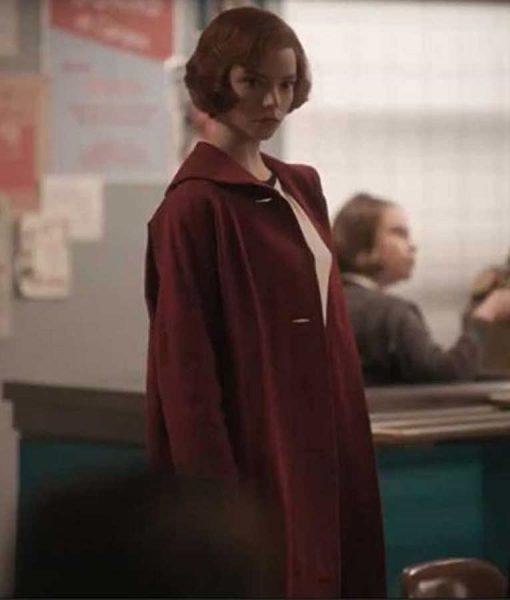 The Queens Gambit Anya Taylor-Joy Red Trench Coat