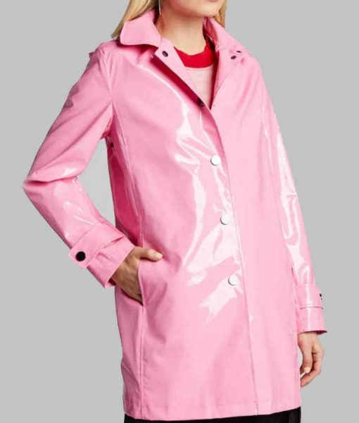 The Today Show Savannah Guthrie Pink Leather Rain Coat