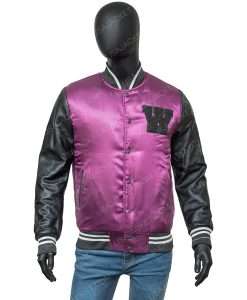 The Weeknd Black and Purple Letterman Jacket