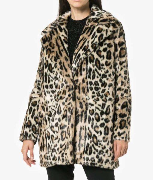 Younger S06 Molly Bernard Cheetah Print Fur Coat