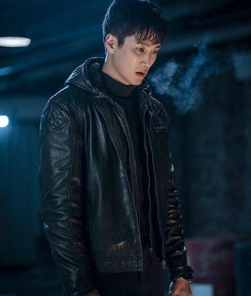 Ahn Bo-Hyun Itaewon Class Jang Geun Won Black Leather Jacket With Hood