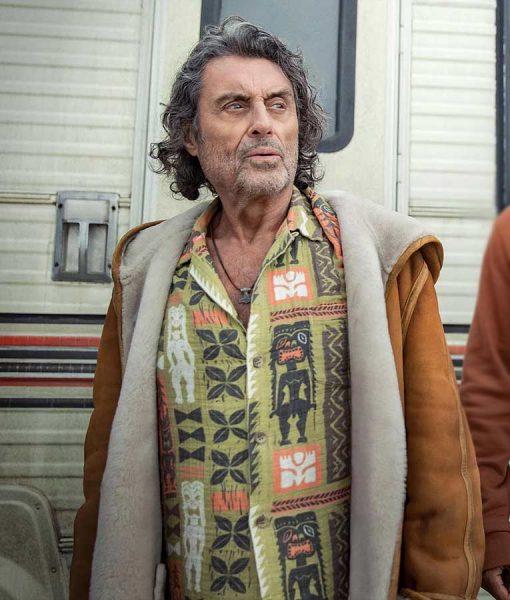 American Gods Season 03 Mr. Wednesday Suede Jacket With Hood