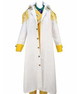 Borsalino One Piece Kizaru White & Yellow Cosplay Trench Coat