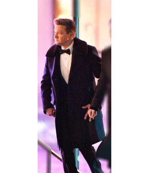 Jeremy Renner Hawkeye Black Fur Collar Coat