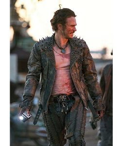 Future World James Franco Leather Moto Jacket With Spikes