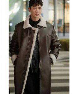 Itaewon Class Jang Geun Won Leather Coat With Shearling Trim