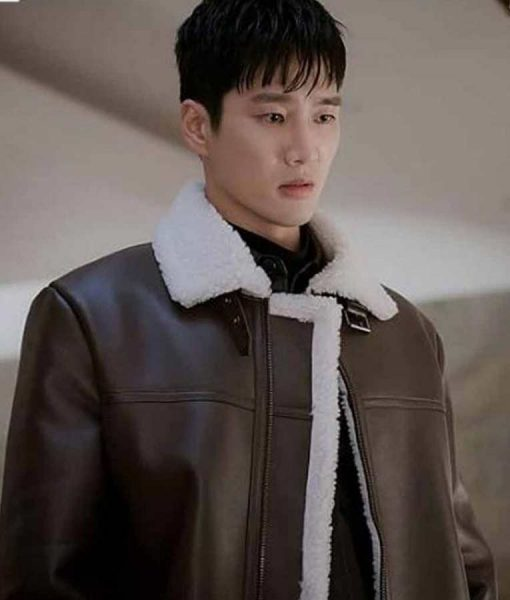 Itaewon Class Ahn Bo-Hyun Leather Coat With Shearling Trim