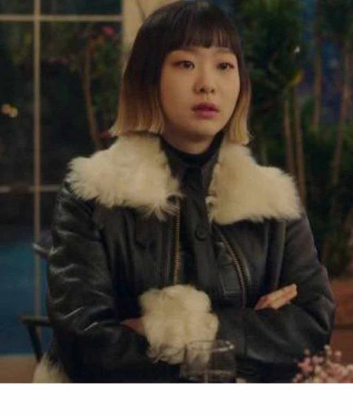 Jo Yi Seo Itaewon Class Black Leather Jacket With Shearling Trim