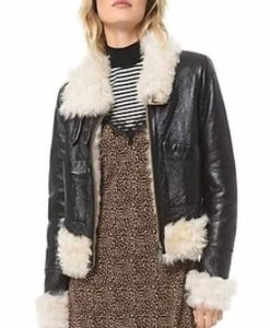 Itaewon Class Kim Jo Yi Seo Leather Jacket With Shearling Trim