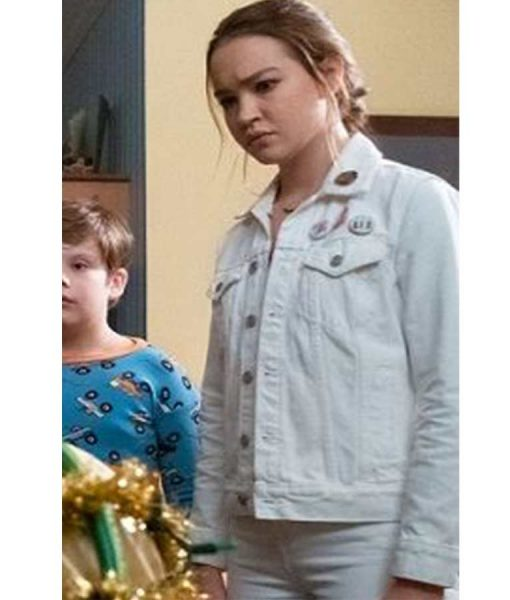Sadie Stanley The Sleepover Clancy White Jacket With Patches
