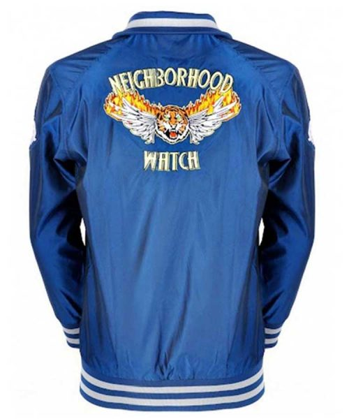 The Watch Evan Ben Stiller Blue Satin Varsity Jacket