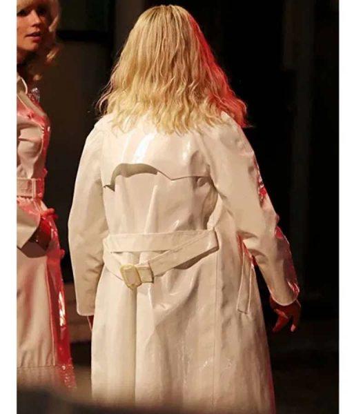 Eloise White Leather Thomasin Mckenzie Last Night in Soho Coat