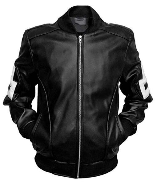 Seinfeld Michael Hoban 8 Ball Black Leather Bomber Jacket