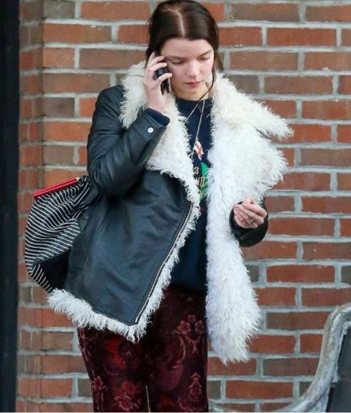 Anya Taylor Joy Black Leather White Fur Jacket