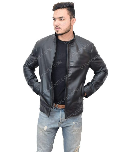 Black Leather Men's Cafe Racer Style Jacket
