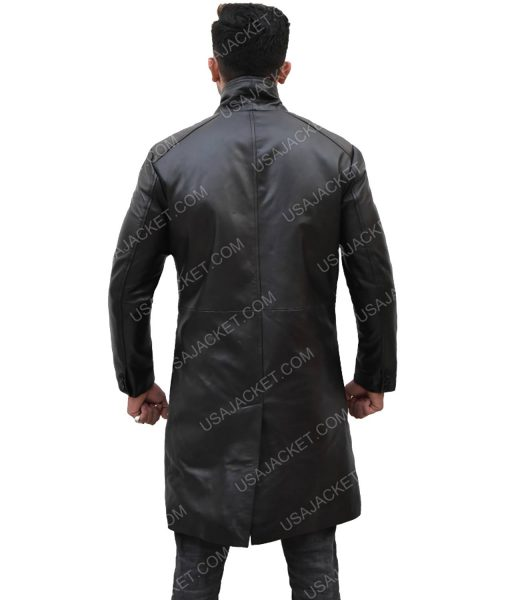 Mid-Length Men's Black Leather Coat