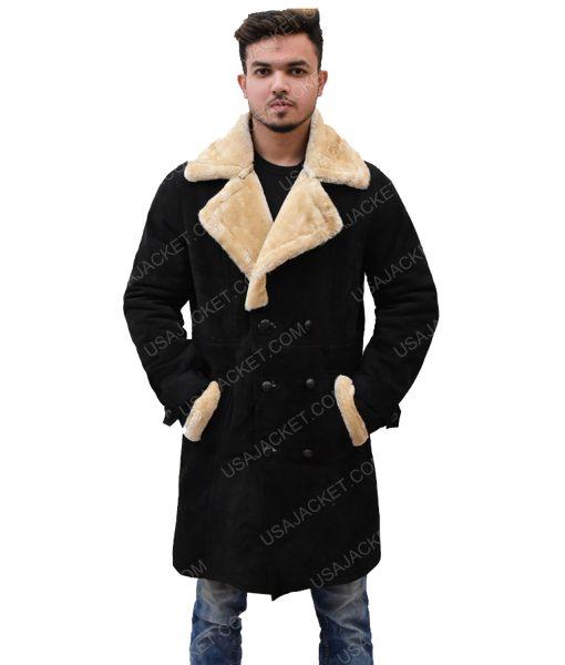 Black Velvet Ivory Fur Coat