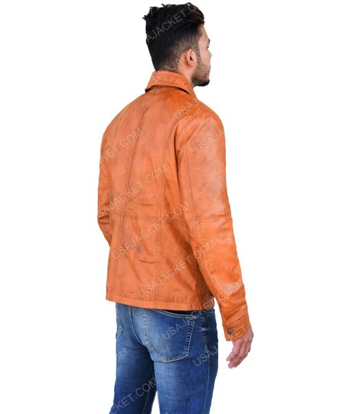 Men's Brown Leather Trun-down Collar Jacket