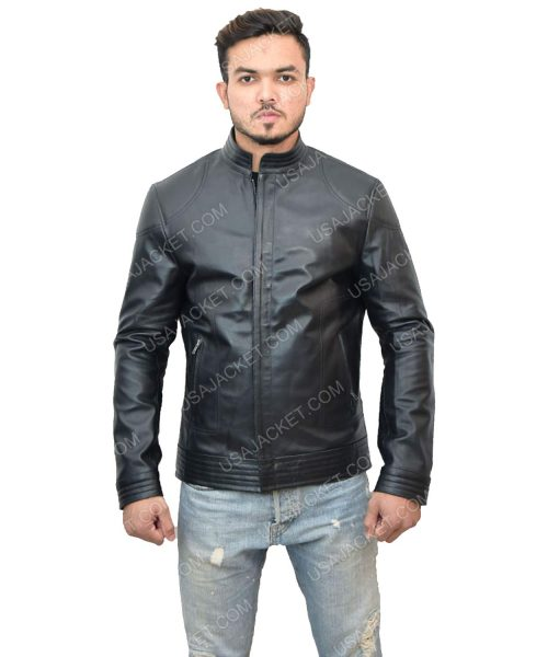 Black Leather Men's Cafe Racer Jacket