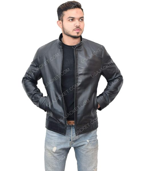 Cafe Racer men's Black Leather Jacket