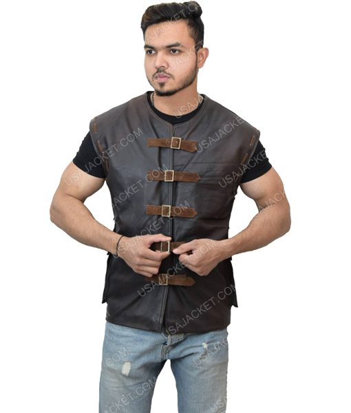 Men's Leather Dark Brown Vest