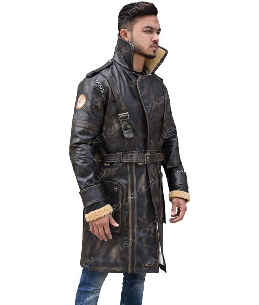 Mid-Length Distressed Brown Leather Coat