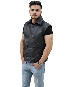 Men's Double-Breasted Black Genuine Leather Vest