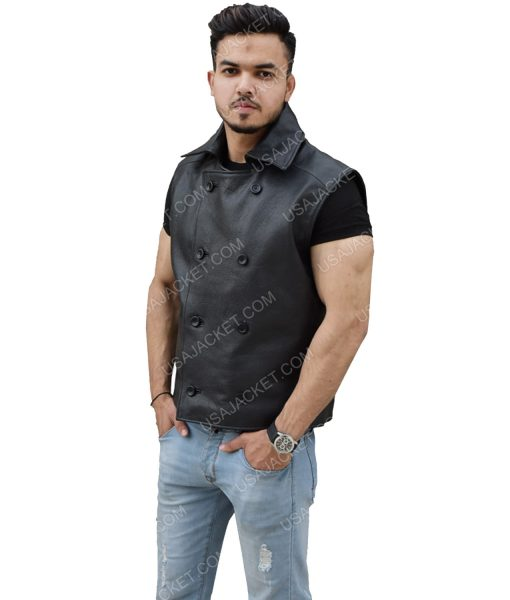 Double-Breasted Style Men's Black Genuine Leather Vest